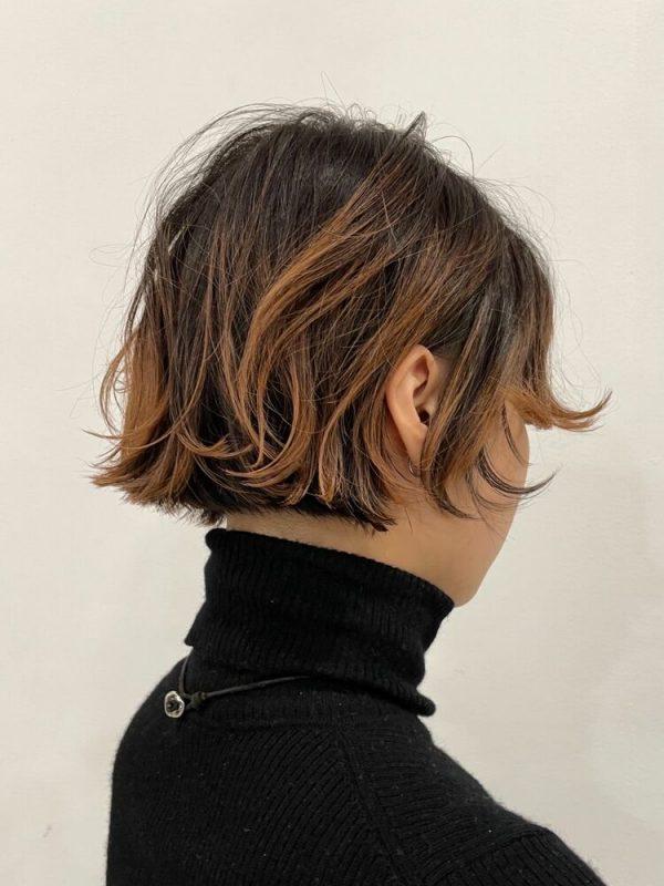 ミニショートボブ×ブラウン系裾カラー