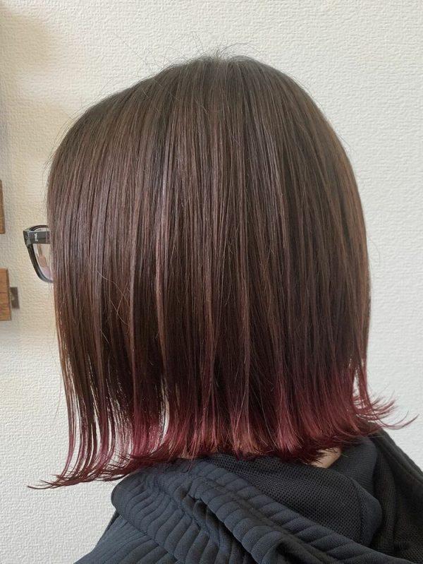 ピンクの裾カラー×ミディアム