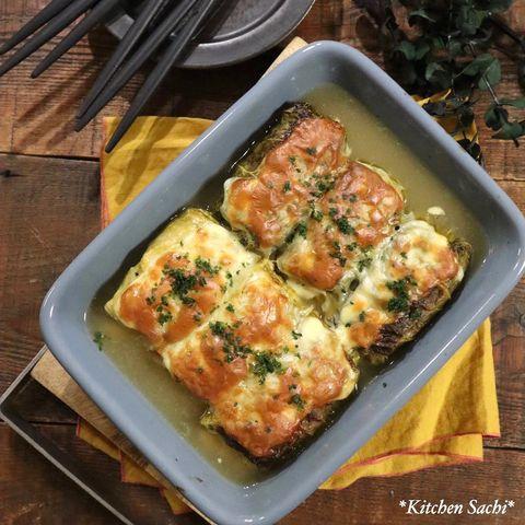 オーブンで!焼きチーズロールキャベツレシピ