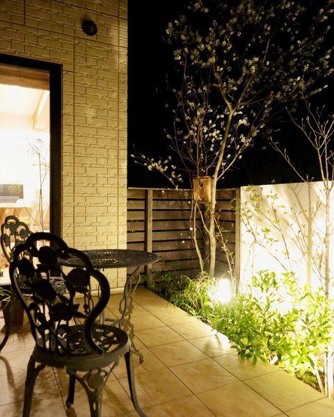 南国風の庭の居心地を良くするポールライト
