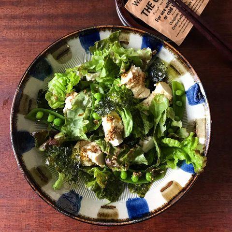 ちぎり豆腐と野菜のサラダ