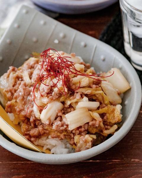 白菜の味噌そぼろ丼