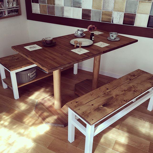 ラック型ベンチのテーブル下の簡単アイデア
