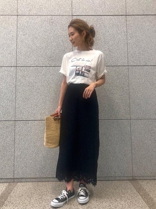 [ROPE' PICNIC] 【セットアップ対応】【着丈が選べる】リーフレースロングスカート