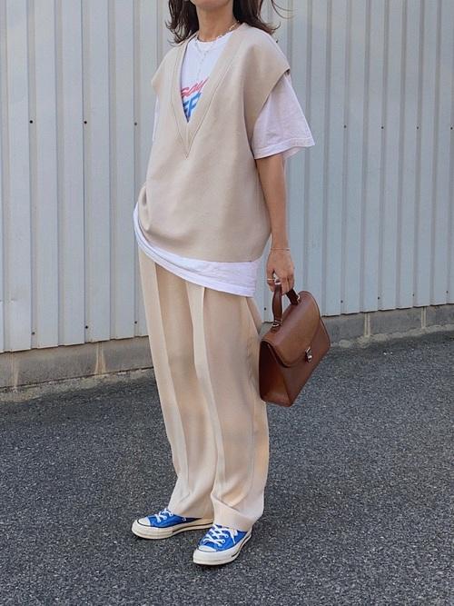 [Auntie Rosa] 【着るだけでお洒落上級者になれる】ダンボールニットベスト