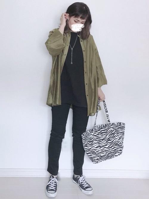 [Ambre Neige] バルーン袖シアーシャツ/【WEB/EC限定商品】