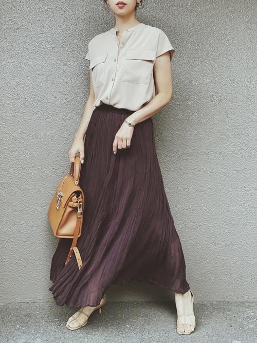 GUのワッシャーフレアロングスカート