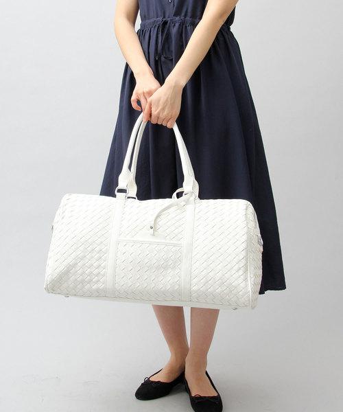 [A.M.S.] 【REGiSTA/レジスタ】 PUレザー イントレチャート ビッグ ボストンバッグ / 編込み / 旅行バッグ