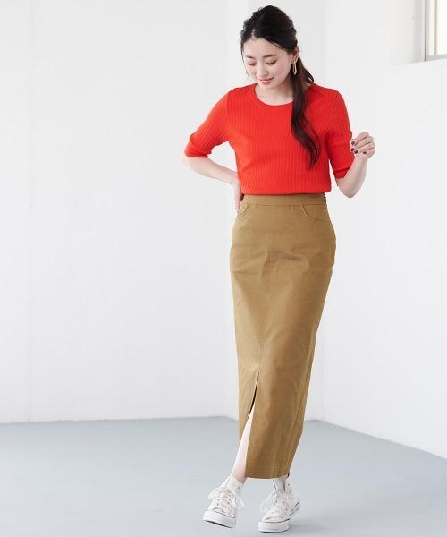 [Ranan] チノライクフロントスリットタイトスカート