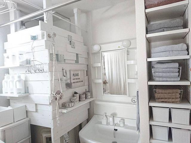 洗面所の電気温水器を隠したアイデア