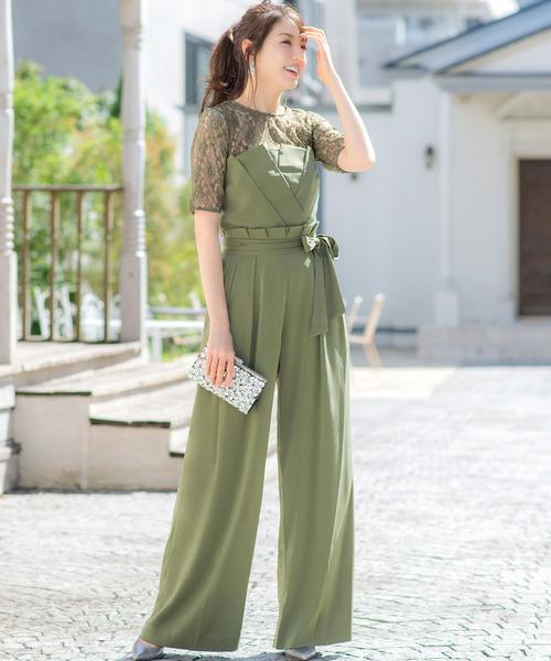 [GIRL] レースブラウス&ベアトップジャンプスーツのセットアップ結婚式パンツドレス