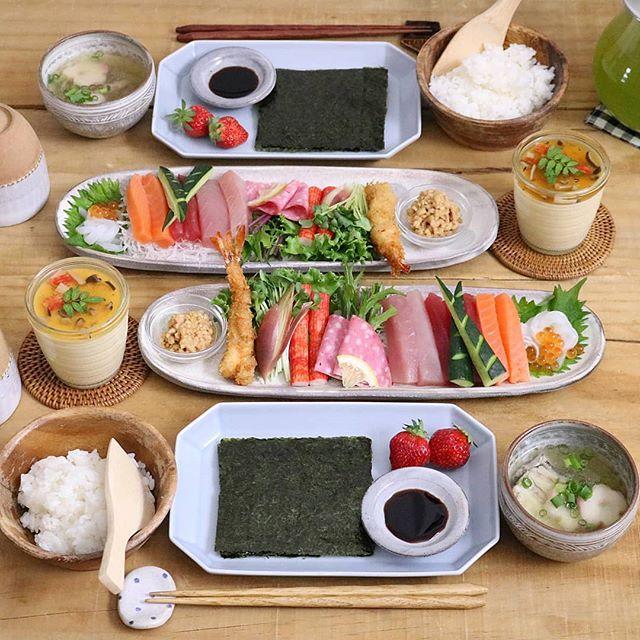 夏に人気のご飯メニュー:手巻き寿司