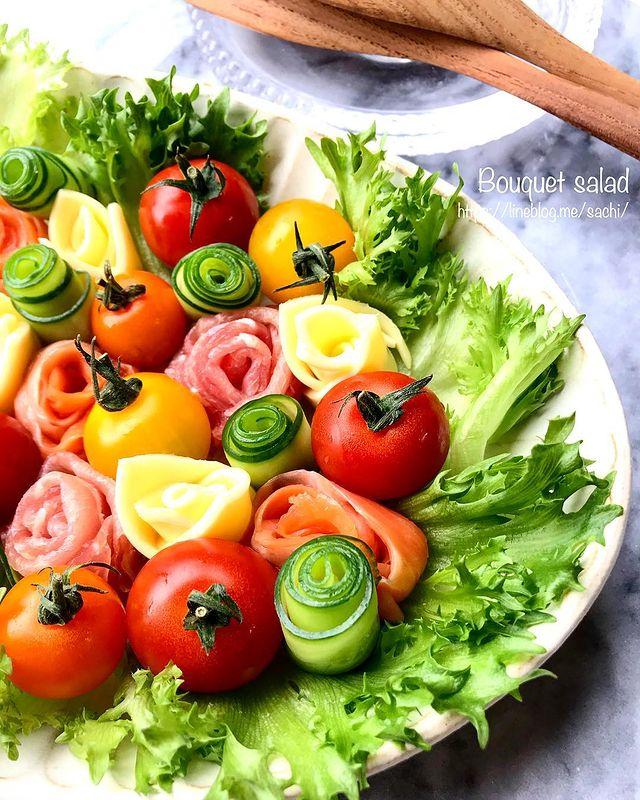 調理簡単で華やかな一品♡ブーケサラダレシピ