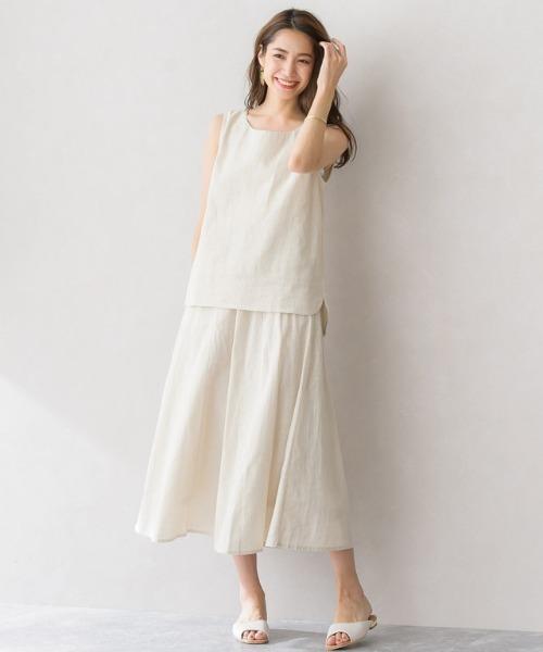 綿麻フレアスカート セットアップ