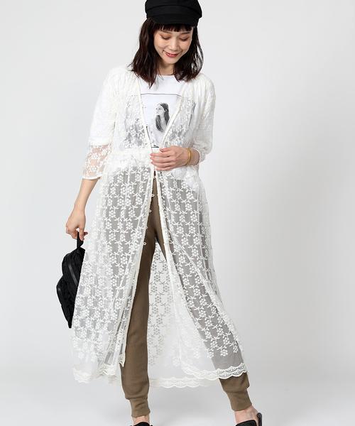 [FREAK'S STORE] チュール刺繍ワンピース(シアー素材ワンピース)