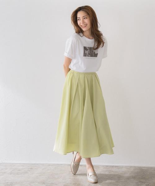 【手洗い可】タックロングフレアスカート
