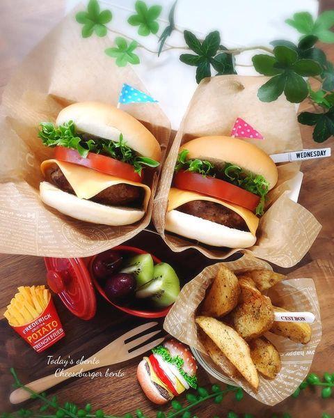 ハンバーガー、お弁当、フライドポテト。