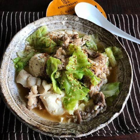 電子レンジで簡単♪豚キャベツ豆腐レシピ