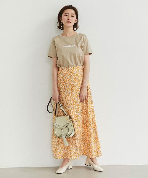 小花柄ラップ風ナロースカート