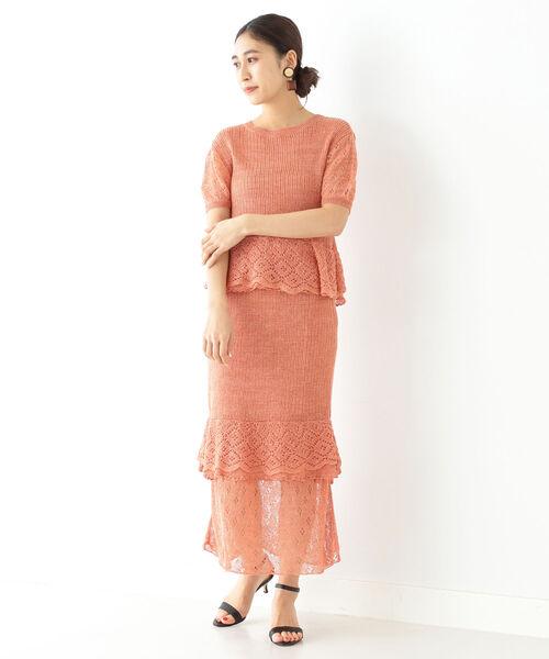 [BEAMS WOMEN] AVERY ROW / リネン レース ニットスカート