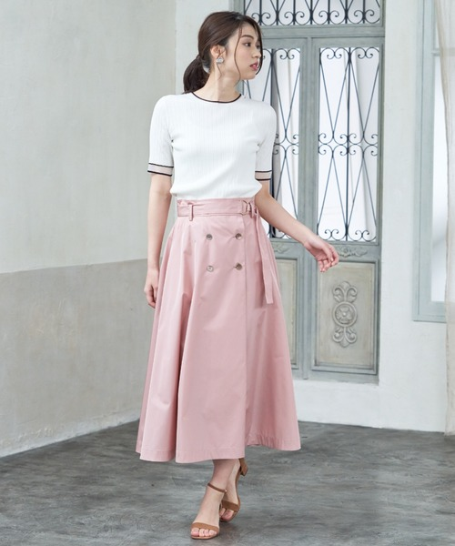 [ANAYI] タフタ撥水加工フレア スカート