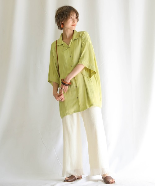 2020 S/S ボーイフレンドオーバーシャツジャケット/光沢ルーズサイズハーフスリーブシャツ