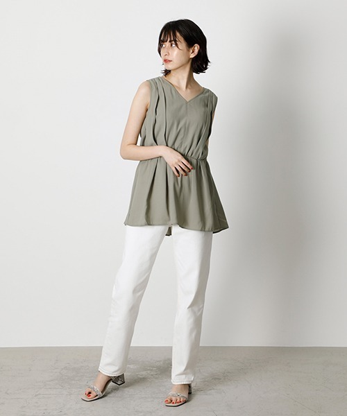 [AZUL BY MOUSSY] BACK RIBBON PEPLUM TOP/バックリボンペプラムトップ