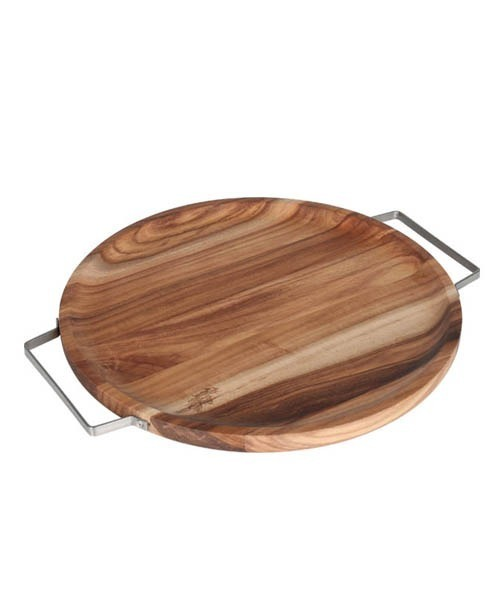 ACACIA TRAY WITH METAL HANDLE ROUND