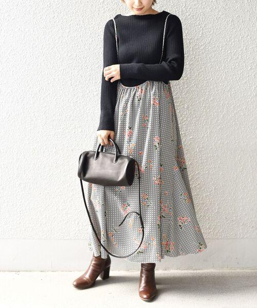 [SHIPS for women] ハウンドトゥース×フラワープリントストラップスカート