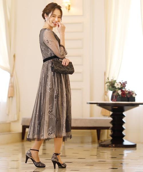 [PourVous] ブラックチュールパーティードレス大きいサイズ袖あり&ロング結婚式フォーマル