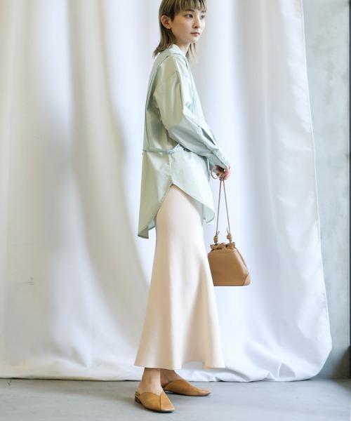 【select MOCA】スプリングニットロングフレアスカート