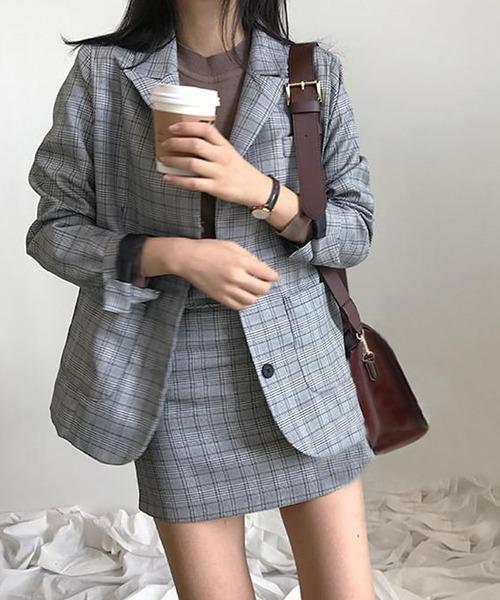 [DEVICE] 韓国風チェック柄 セットアップ ジャケット ハイウエストスカート ツーピース ミニ フォーマル テーラード & パンツ