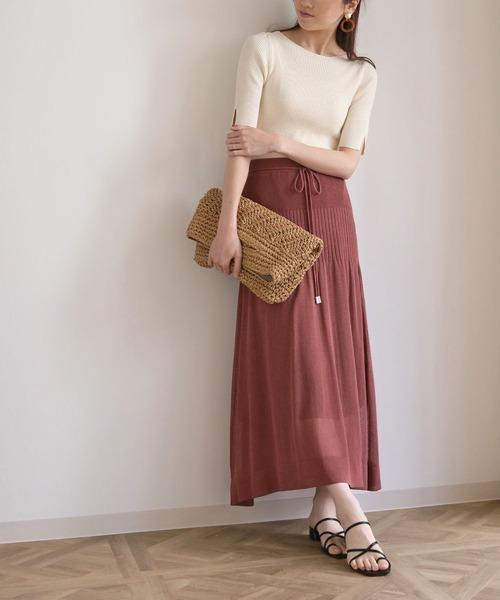 [HER CLOSET] 【cheriella】リネンタッチシアーサマーニットスカート