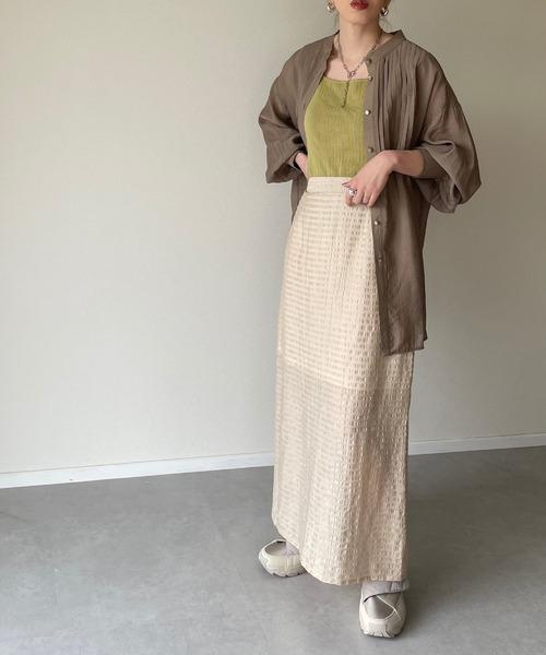 [y/m] ジャガードバックスリットスカート