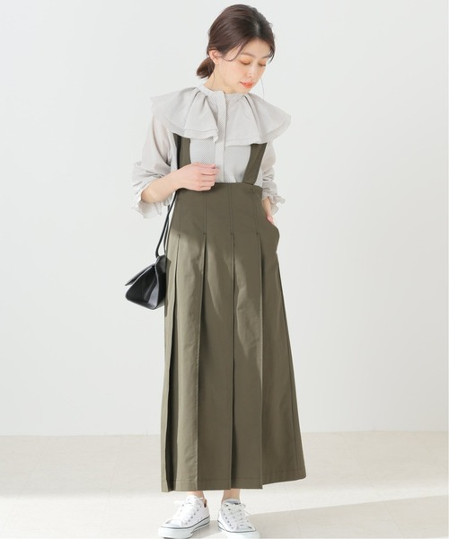 [IENA] タックプリーツ ジャンパースカート【手洗い可能】◆