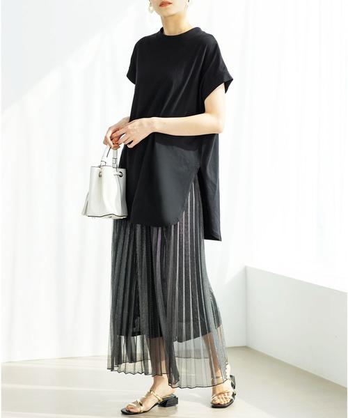 GeeRA] 【21夏新着】綿100%フレンチスリーブチュニックTシャツ