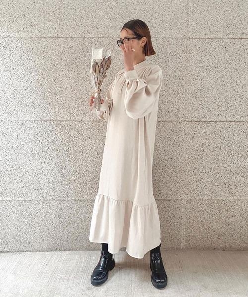 【ANDJ】バンドカラー裾切替ツイルワンピース