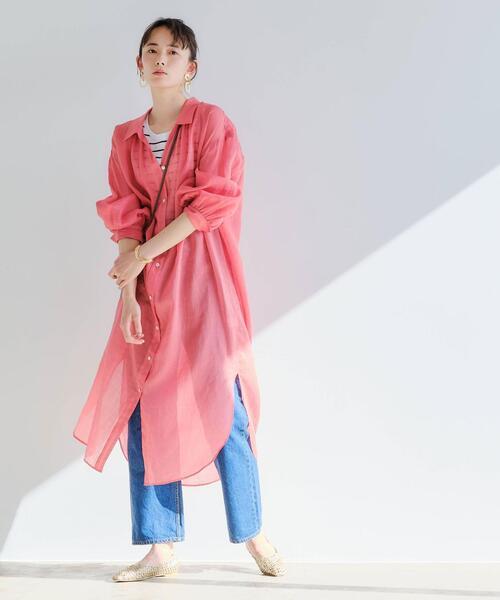 [green label relaxing] FFC ラミー/CEL シアー シャツ ワンピース