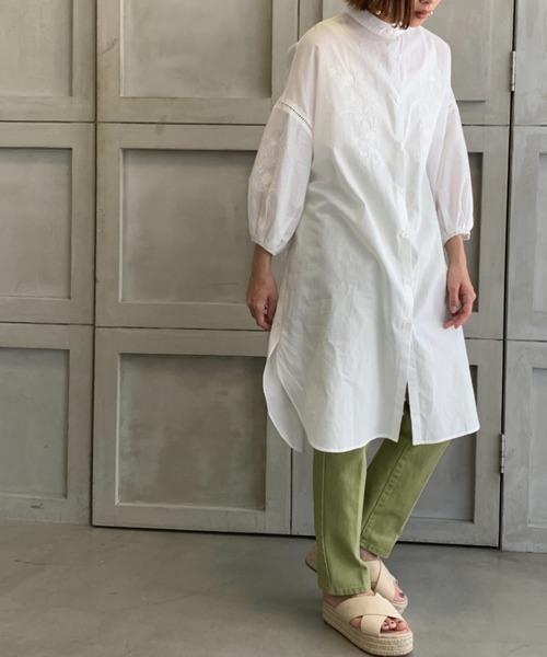 [moment+] 【2021S/S New Arrival】綿ガーゼスタンド袖ボリューム刺繍チュニックシャツ