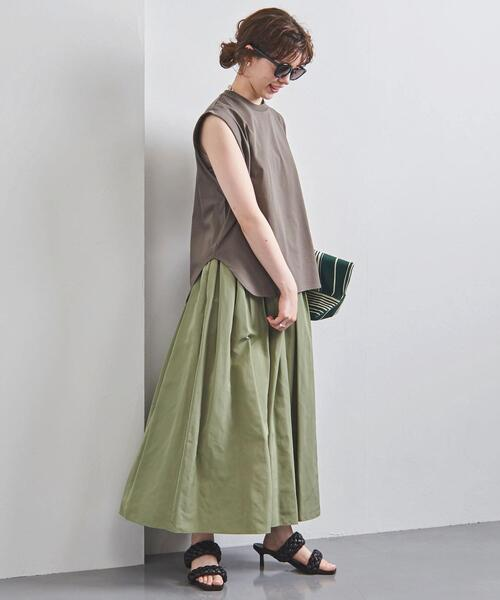 [UNITED ARROWS] UWFM タフタ ギャザー スカート ②