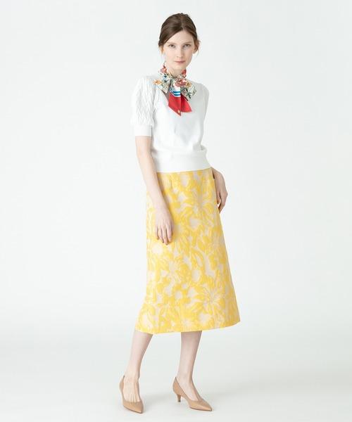 フラワージャガードAラインスカート