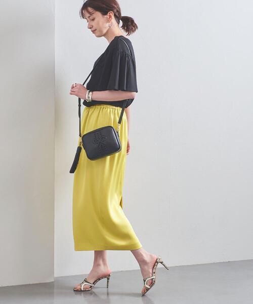サテン ギャザー ロングタイトスカート