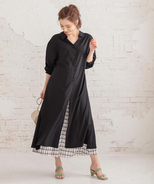 出典:zozo.jp [kobelettuce] 撥水+撥油加工抜き衿デザインシャツワンピース