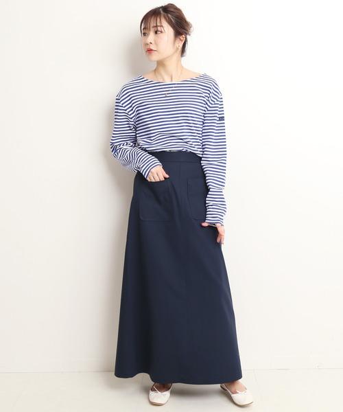 [IENA] ハイツイストコットンAラインスカート【ウエストゴム/手洗い可能】◆