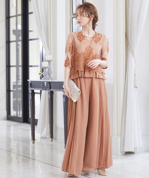 [Fashion Letter] セットアップ レーストップス&プリーツワイドパンツドレス