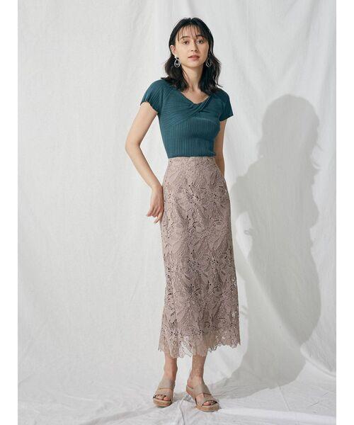 [MERCURYDUO] フラワーケミカルレースタイトスカート