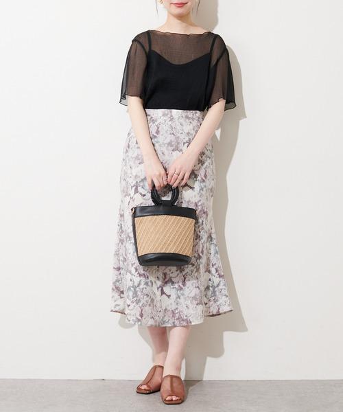 [natural couture] 【WEB限定】インナーキャミ付きシアーメロウブラウス