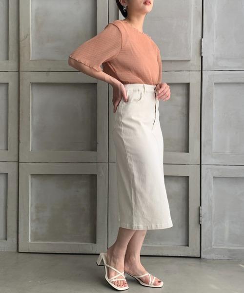 【moment+】ストレッチデニム&ツイルフロントスリットタイトスカート