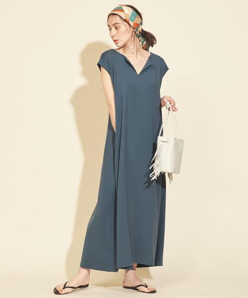 [BEAUTY&YOUTH UNITED ARROWS] 【WEB限定】by ※∴TRキーネックカットソーマキシワンピース -ウォッシャブル-