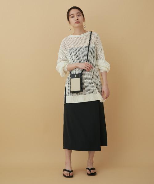 [ADAM ET ROPE'] 【アウトレット店舗・WEB限定】リネンライクラップスカート